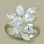 RA15: Silver Floral Cluster CZ Ring