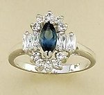 RA46: Sapphire Blue & Clear CZ Ring in Gold or Silver