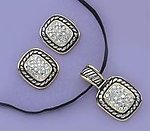 SNT36DR: Yurmanesque Style Crystal Earrings & Necklace Set