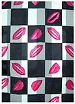 SS32: Black & White Red Lips Scarf