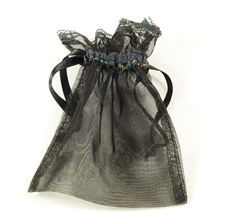 BXP032: Black Organza Lace-Trimmed Pouch (12 Count)