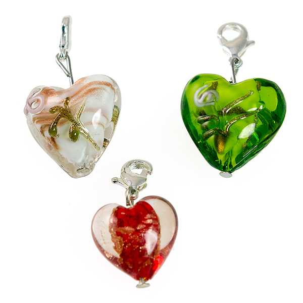 CH24: Blown Glass Heart Charm 5 Colors