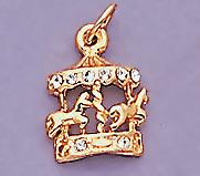 CH86: Crystal Accented Carousel Charm in Gold
