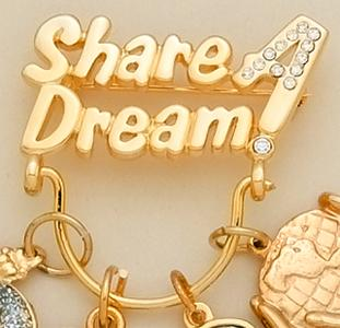 CHP015: Share A Dream Crystal & SILVERCharm Holder Pin