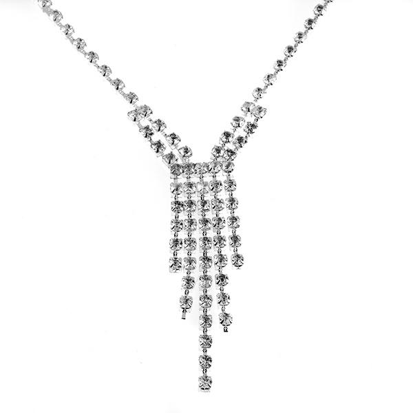 CL176: Rhinestone Necklace and Earrings