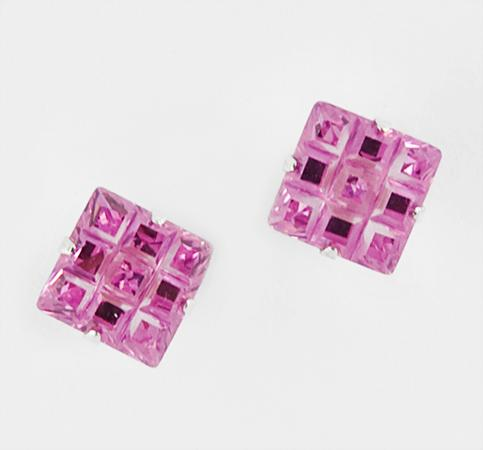 EA111: Pink Ice Laser-Cut Sterling Earrings