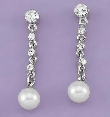 EA448: Crystal & Pearl Dangle Earrings