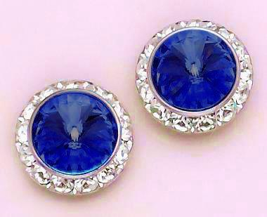EA60B: Blue Swarovski Crystal Classic Button Earrings