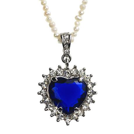 NA216: Sapphire Heart on Pearl or Chain Necklace