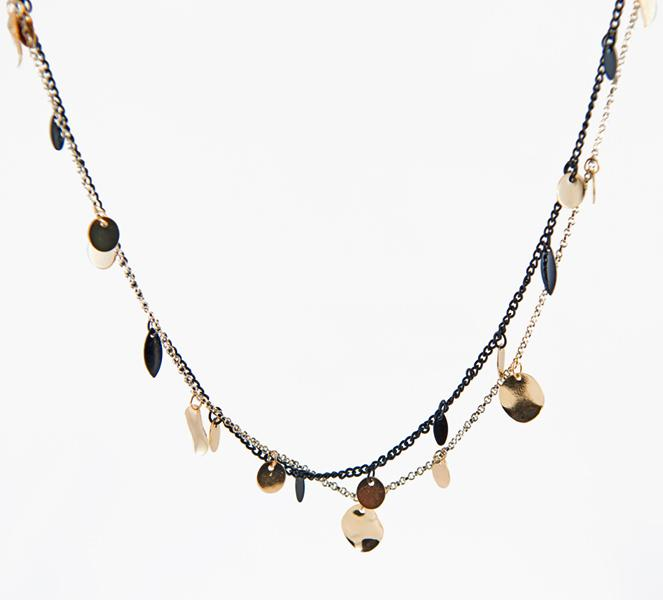 NA246: Gold and Black Multi Strand Necklace