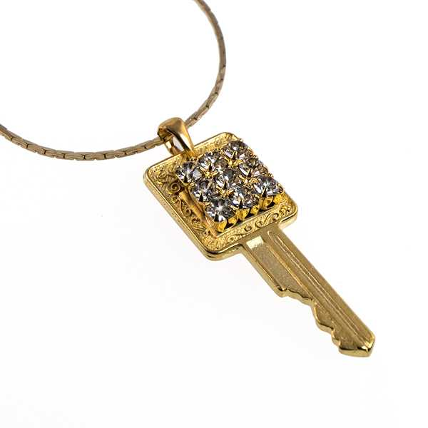 NA351: Golden Crystal Key Necklace