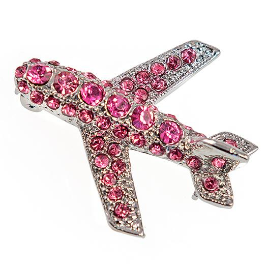 PA249: Crystal Airplane Pin