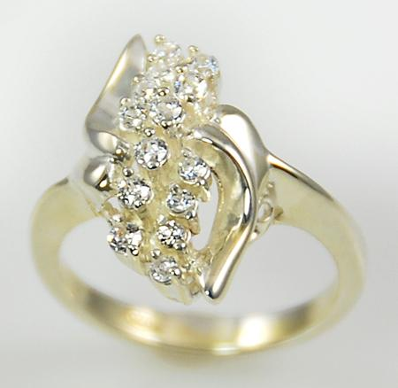 RA103: Sterling Silver CZ Cluster Ring
