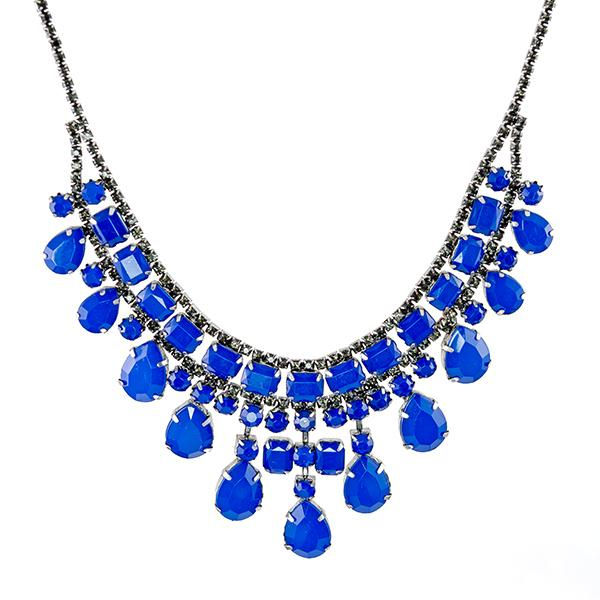 SN283: Dark Blue Necklace and Earring Set