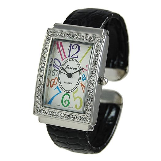 WA104: Black Cuff Watch w/ Colorful Numbers