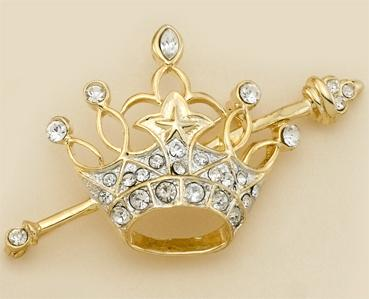 PA477: Crystal Star Crown & Scepter Pin