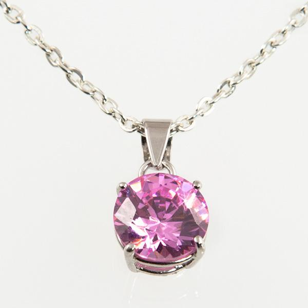 NA212: Silver or Sterling Silver Pink Ice Necklace