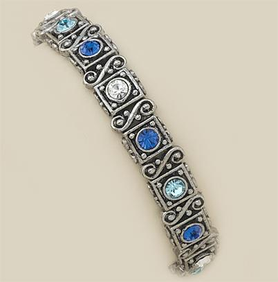 BR155B: Blue Crystal Stretch Bracelet