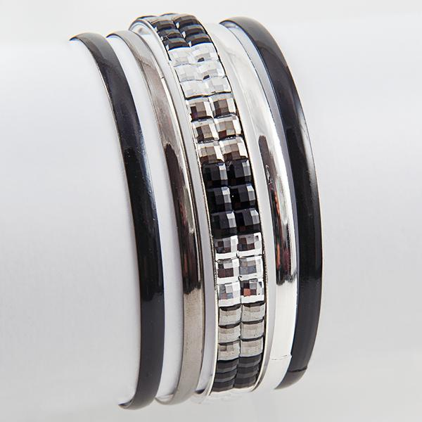 BR278B: Two Tone Silver Bangle Bracelets