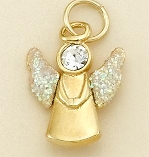 CH145GR: Gold & Crystal Angel Charm