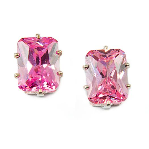 EA210P: Emerald Cut Pink Ice Earrings