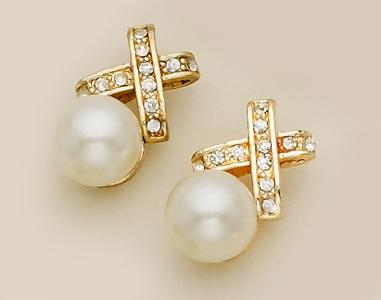 EA357: Crystal X Earring with Pearl on Post