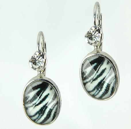 EA523: Crystal & Zebra Print Earrings