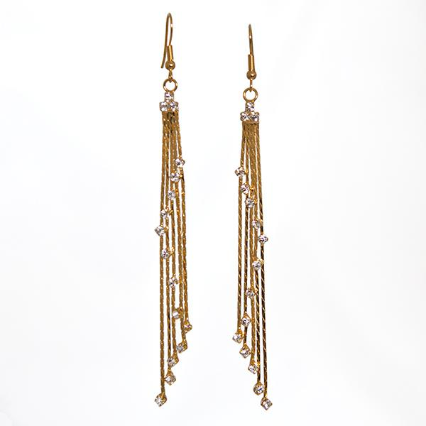 EA617: Cascading Crystal and Gold Earrings