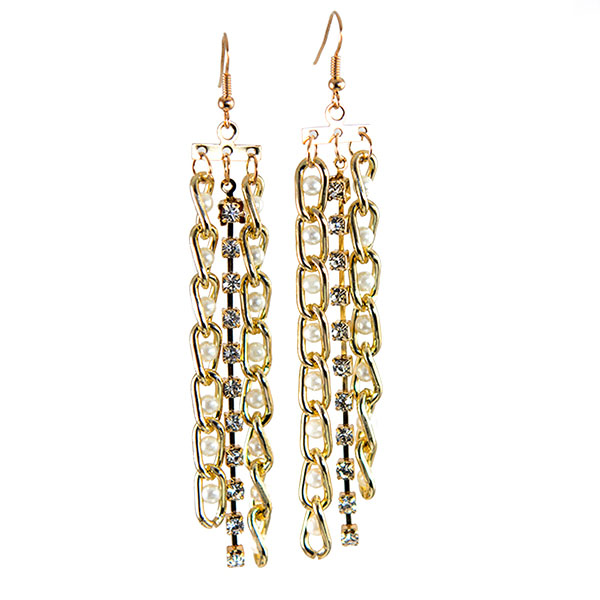 EA697: Pearl and Gold Chain Earrings