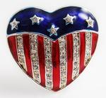 PA530: United we Stand Red, White & Blue Crystal Heart Pin
