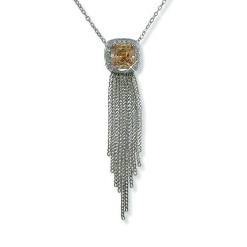 NA178S: Designer Style Amber CZ Necklace in Silver