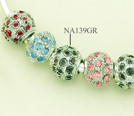 NA139GR: Green Crystal & Silver Fireball