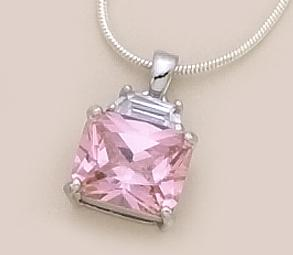 NA13JL: Pink CZ Pendant in Silver Setting with Silver Chain