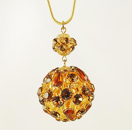 NA182: Ruby Crystal Ball Necklace