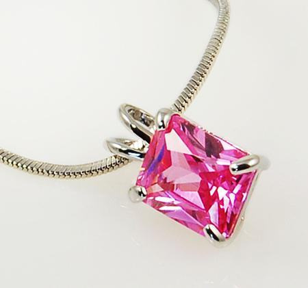 NA184: Emerald-Cut Pink Ice Necklace