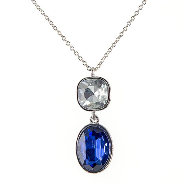 NA272: Sapphire and Clear Crystal Necklace