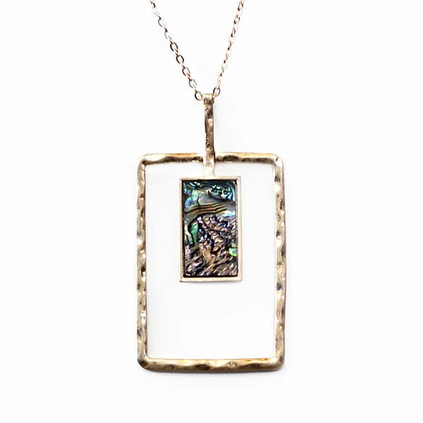 NA360: Exotic  Abalone Mother of Pearl Golden Necklace