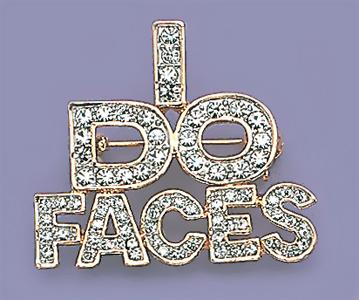 PA394: I Do Faces Crystal Pin