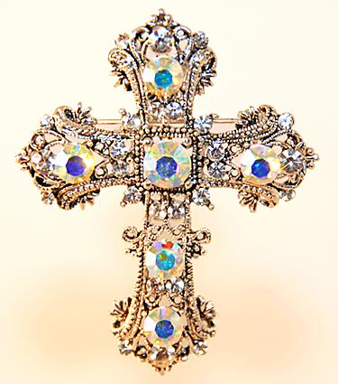 PA451: Austrian Crystal Cross Pin / Pendant