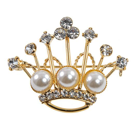 PA632: Golden Pearl Crown Pin