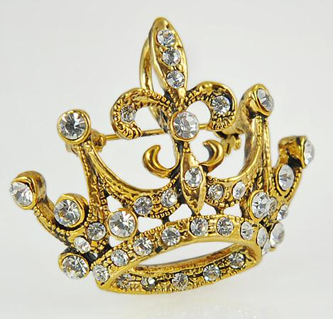 PA542: Regal Austrian Crystal Crown Pin
