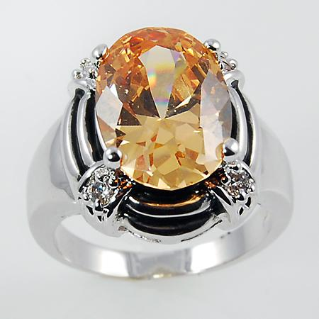 RA108: Topaz / Amber Oval Ring