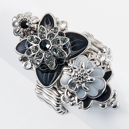 RA123: Floral Stretch Enamel Ring