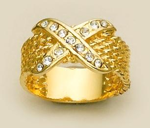 RA41: Gold & Crystal X Style Ring