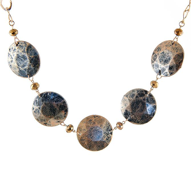 SN259: Exotic Textured Necklace and Earring Set