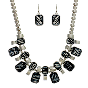 SN320: Exotic Silver and Zebra Necklace  and Earring Set