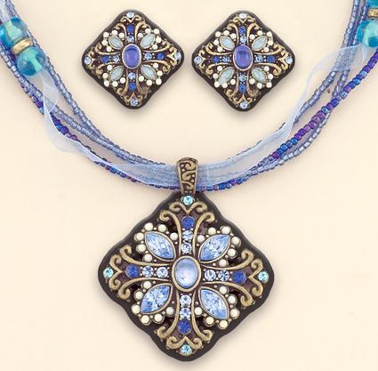 SNT88DR: Blue Crystal & Bead Ribbon Set