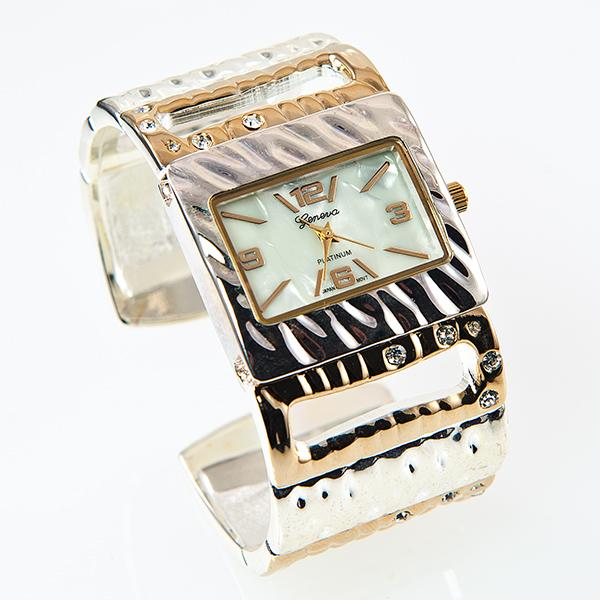 WA121: Two tone Crystal Cuff Watch
