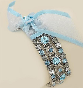 BR15AQ: Triple Light Blue Crystal Stretch Bracelet