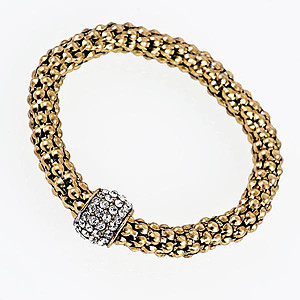 BR292A: Crystal Yurmanesque Antique Gold Bracelet